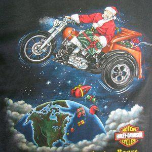 Vintage Harley-Davidson Christmas Graphic T-Shirt